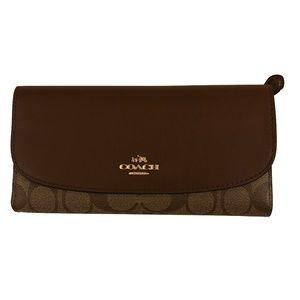 COACH Tri-Fold Checkbook Wallet KhakiSaddle F57319